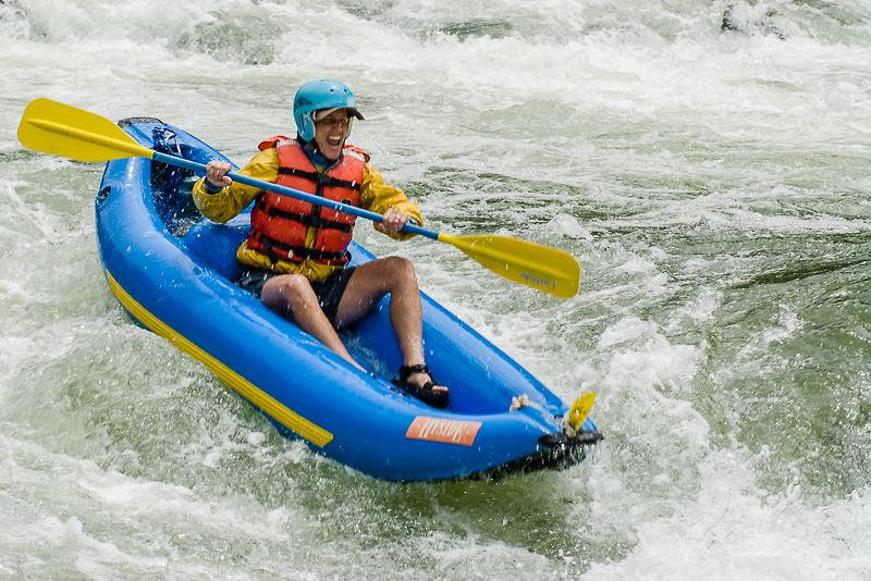 Exuberant kayaker at Blackbar Falls